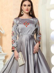 Grey Embroidered Festival Designer Gown