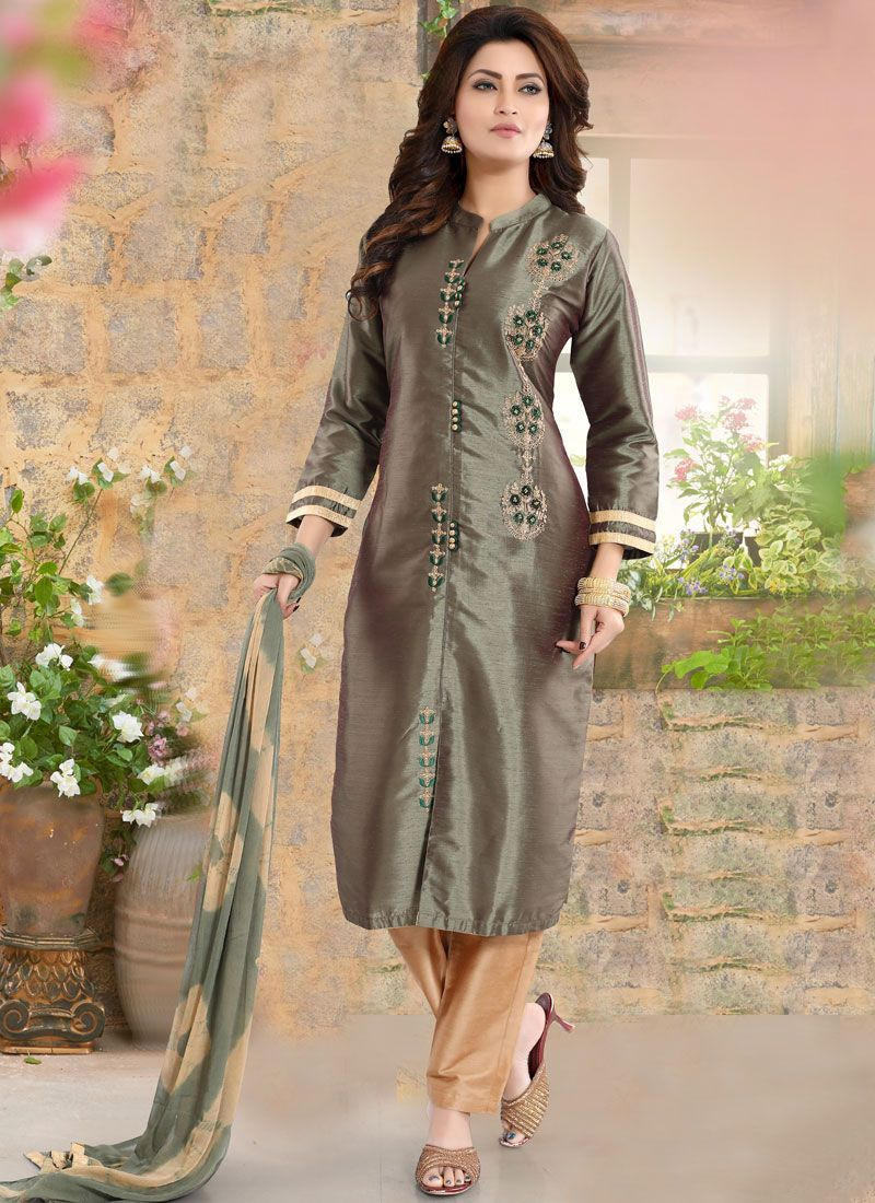 Grey Embroidered Festival Readymade Suit
