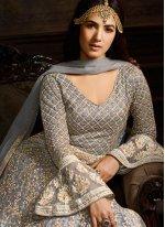Grey Embroidered Floor Length Anarkali Suit