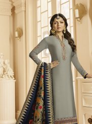 Grey Embroidered Georgette Satin Churidar Suit