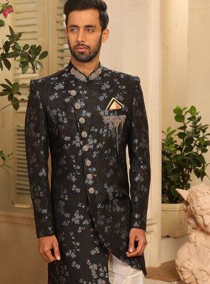 Grey Embroidered Jacquard Silk Indo Western