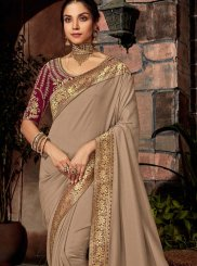 Grey Embroidered Mehndi Classic Saree