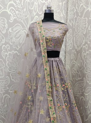 Grey Embroidered Mehndi Lehenga Choli