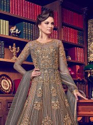 Grey Embroidered Net Anarkali Salwar Kameez