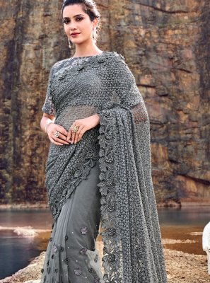 Grey Embroidered Net Classic Designer Saree