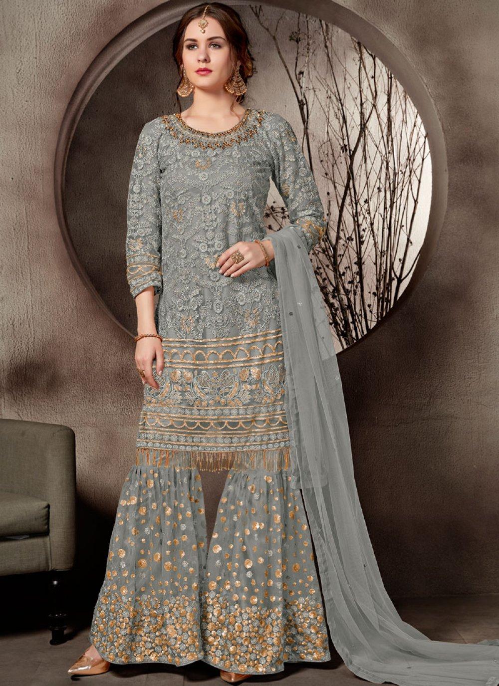 Grey Embroidered Net Designer Palazzo Salwar Suit