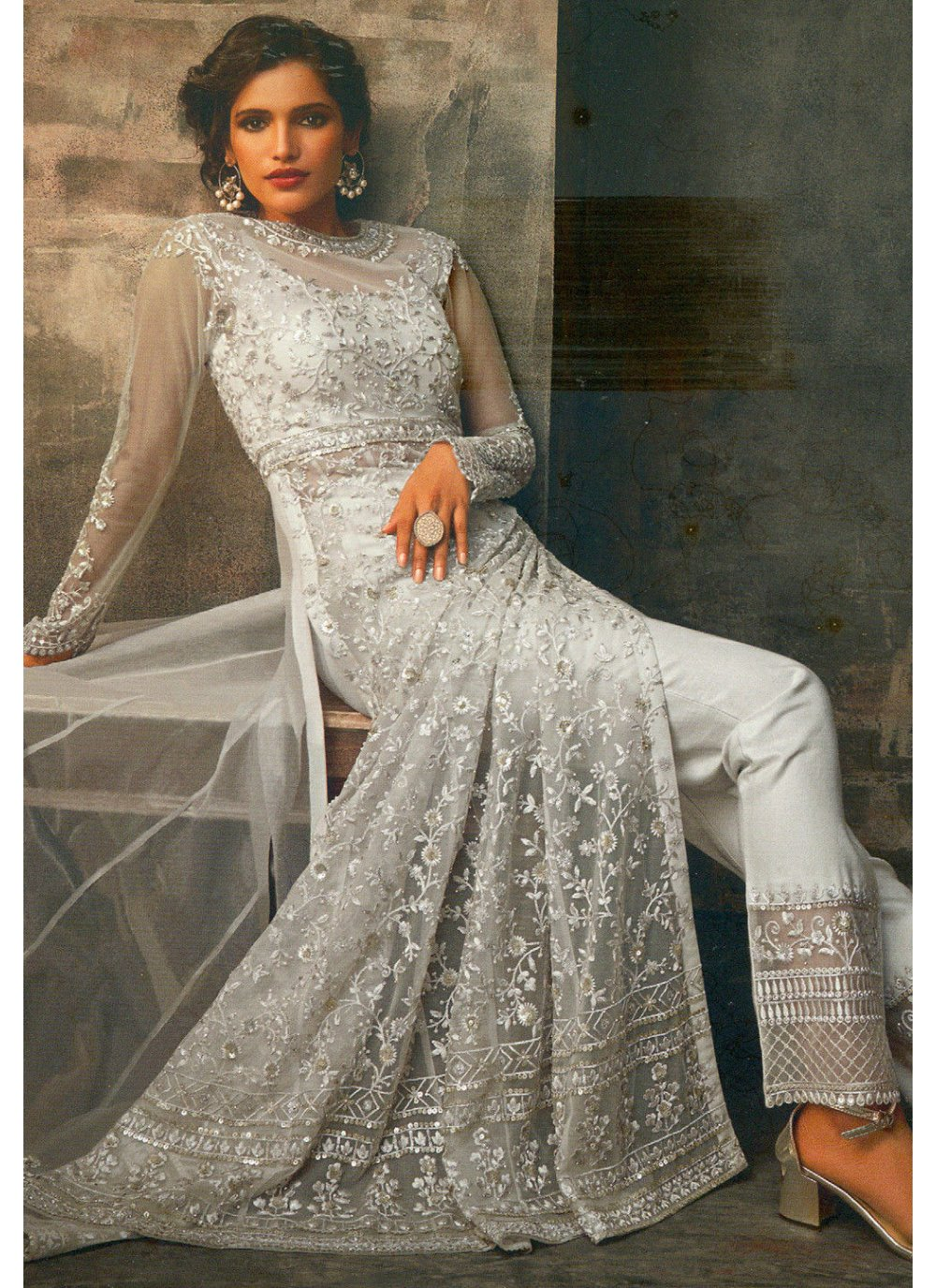 Grey Embroidered Net Pant Style Suit