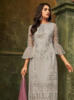 Grey Embroidered Party Salwar Kameez