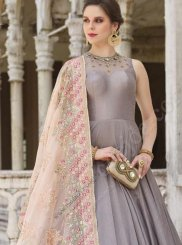 Grey Embroidered Readymade Anarkali Suit