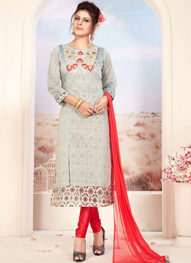 Grey Embroidered Readymade Suit