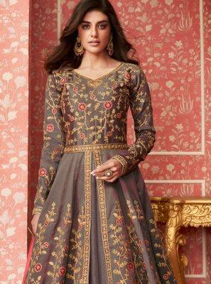 Grey Embroidered Reception Desinger Anarkali Salwar Suit
