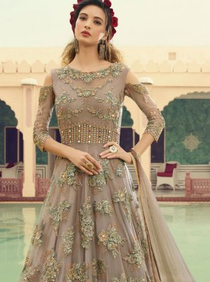 Grey Embroidered Reception Floor Length Anarkali Suit