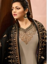 Grey Embroidered Sangeet Churidar Salwar Kameez