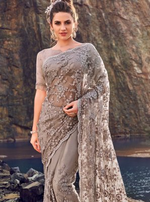 Grey Embroidered Sangeet Classic Designer Saree