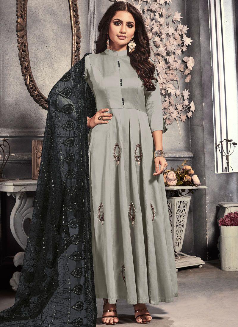 Grey Embroidered Satin Anarkali Salwar Kameez