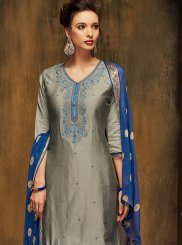 Grey Embroidered Satin Patiala Salwar Kameez