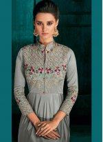 Grey Embroidered Silk Desinger Anarkali Suit