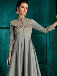 Grey Embroidered Silk Desinger Anarkali Suit