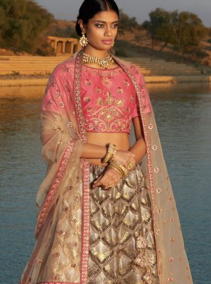 Grey Embroidered Silk Trendy Designer Lehenga Choli