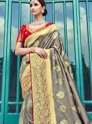 Grey Embroidered Traditional Designer Saree