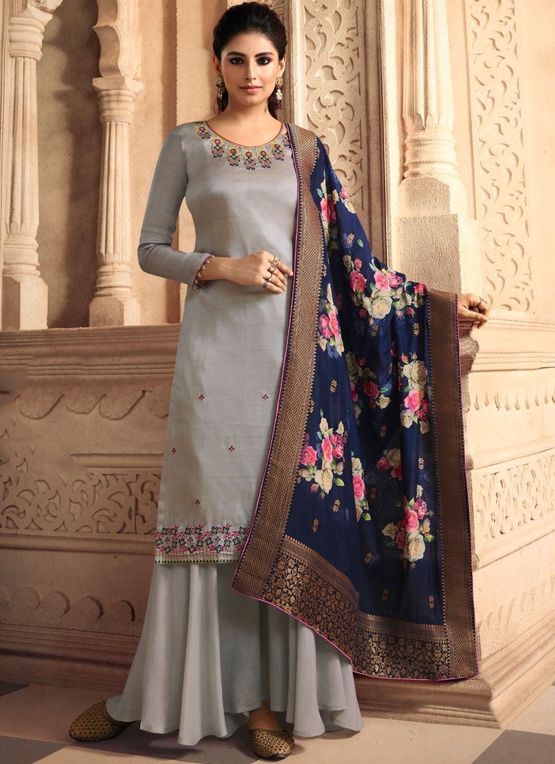 Grey Embroidered Tussar Silk Palazzo Salwar Suit