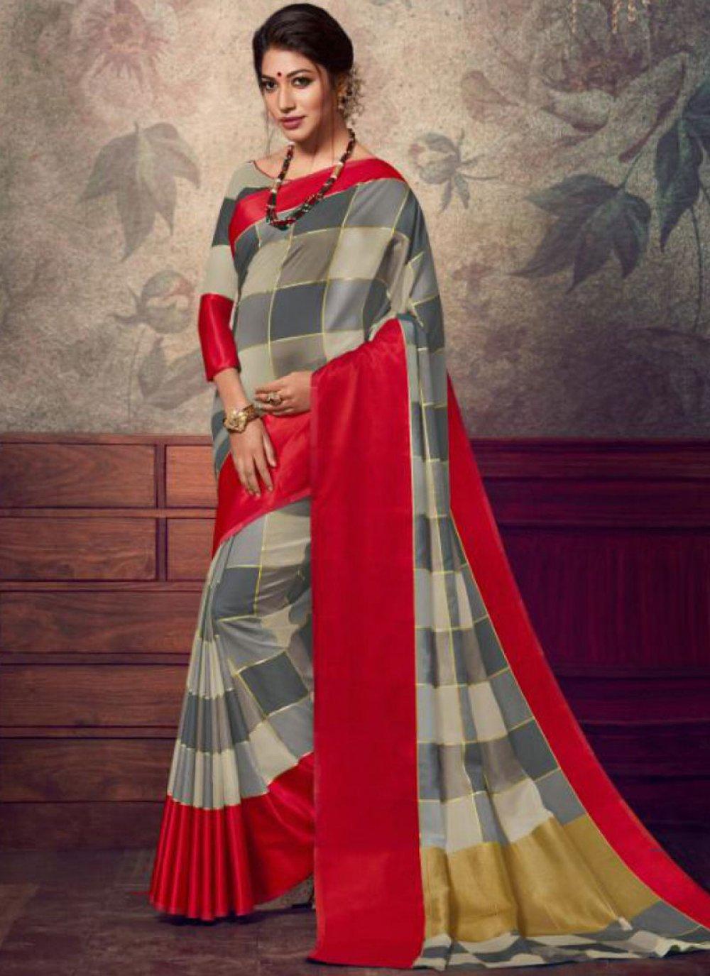 Grey Fancy Fabric Designer Saree