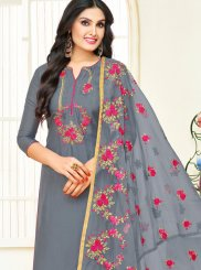Grey Fancy Fabric Designer Straight Suit