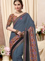 Grey Fancy Fabric Print Printed Saree