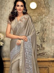 Grey Fancy Fabric Wedding Designer Saree