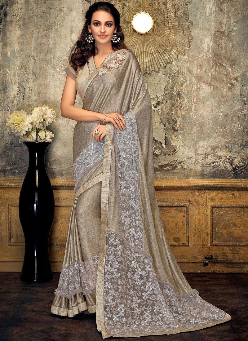 Grey Fancy Fabric Wedding Designer Saree
