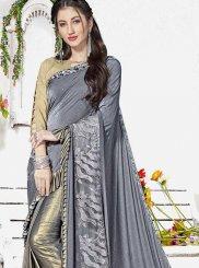 Grey Fancy Lycra Classic Designer Saree