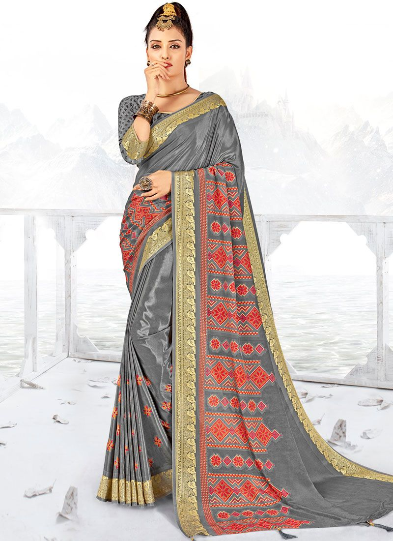Grey Faux Crepe Printed Saree