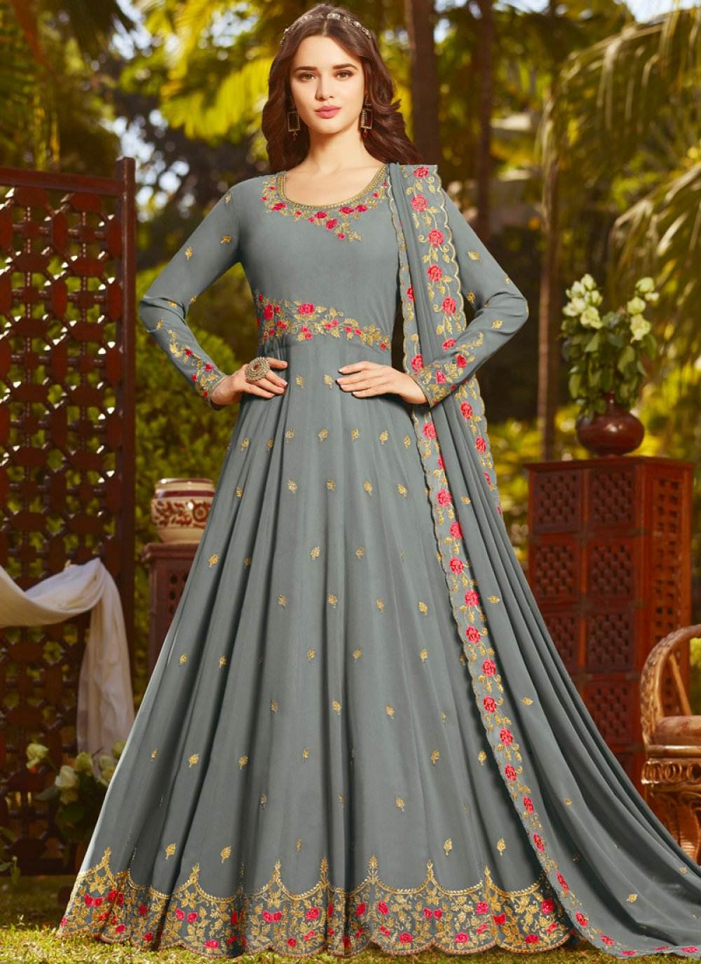 Grey Faux Georgette Embroidered Floor Length Anarkali Suit