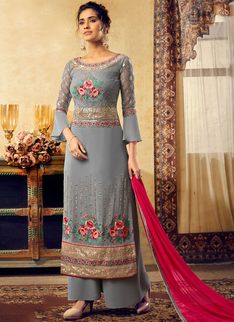 Grey Faux Georgette Embroidered Palazzo Salwar Suit