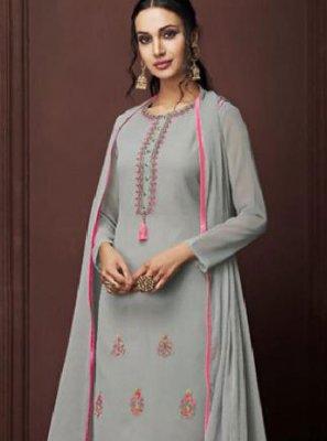 Grey Faux Georgette Festival Designer Pakistani Suit