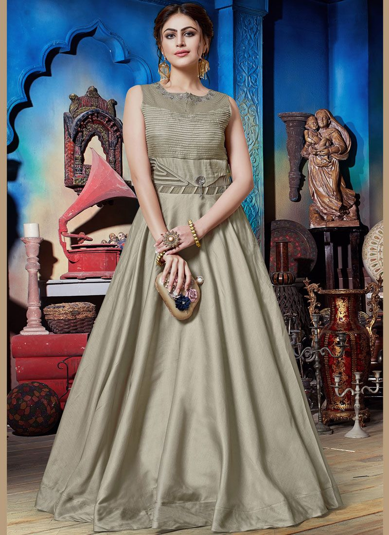 Grey Festival Art Silk Designer Gown