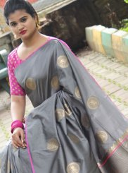 Grey Festival Art Silk Traditional Designer Saree