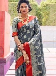 Grey Festival Art Silk Traditional Designer Saree