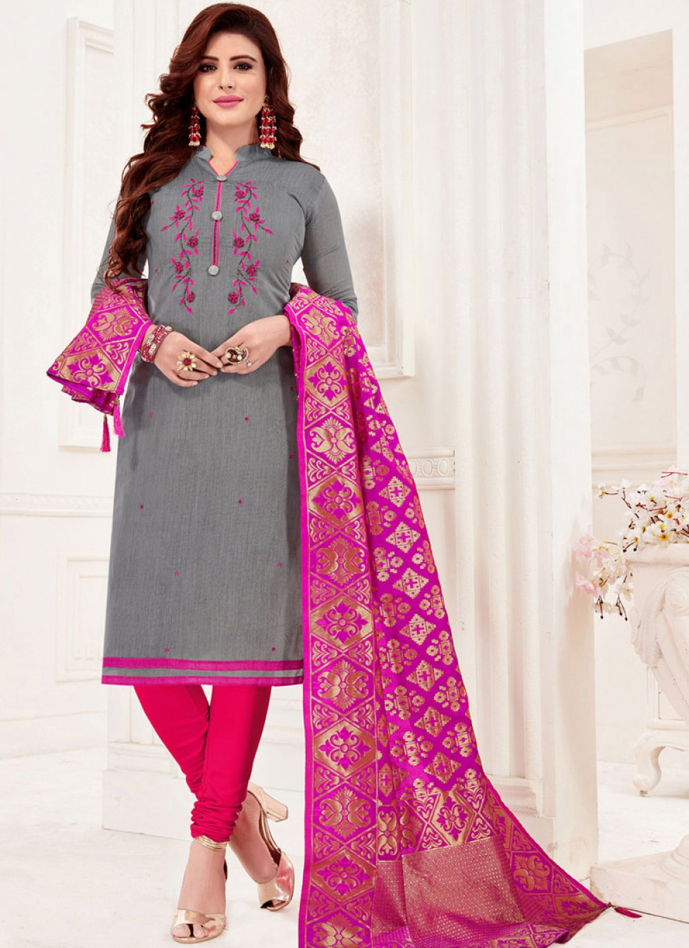 Grey Festival Cotton Churidar Designer Suit