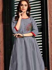 Grey Festival Party Wear Kurti