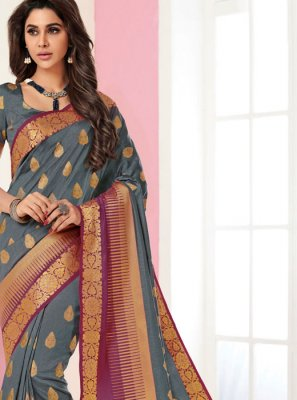 Grey Festival Traditional Saree
