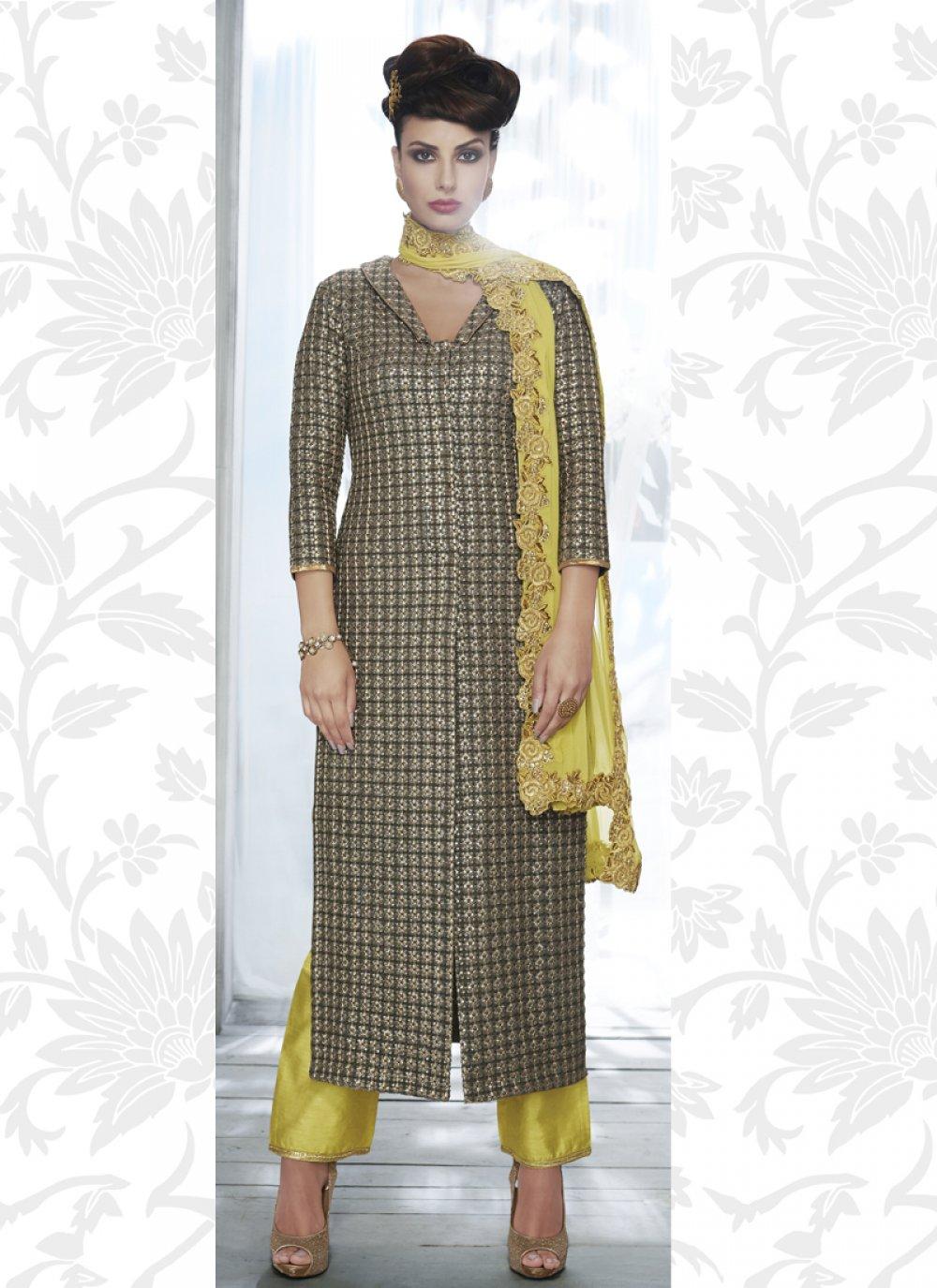 Grey Georgette Designer Salwar Suit