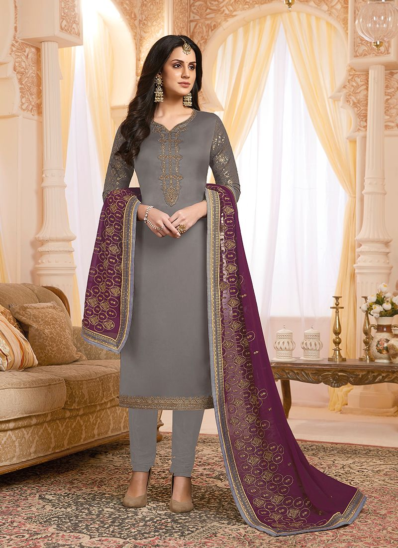 Grey Georgette Satin Ceremonial Designer Suit