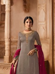 Grey Georgette Satin Designer Pakistani Suit