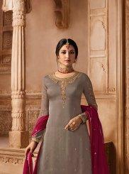 Grey Georgette Satin Designer Pakistani Suit