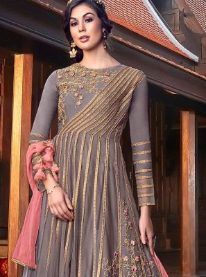 Grey Georgette Satin Floor Length Anarkali Suit
