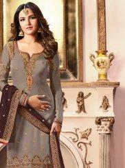 Grey Georgette Satin Sangeet Designer Straight Salwar Kameez