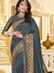 Grey Georgette Satin Wedding Classic Designer Saree