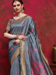 Grey Handloom silk Festival Designer Saree