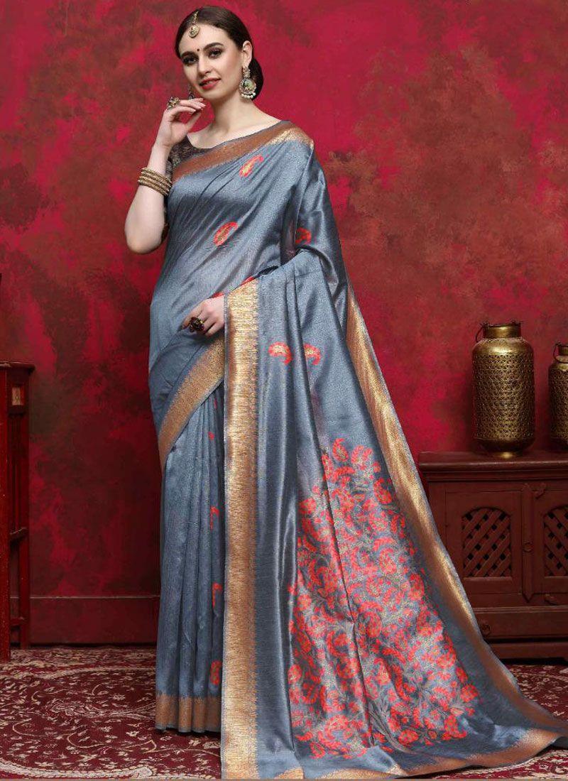 Grey Handloom silk Weaving Traditional Saree